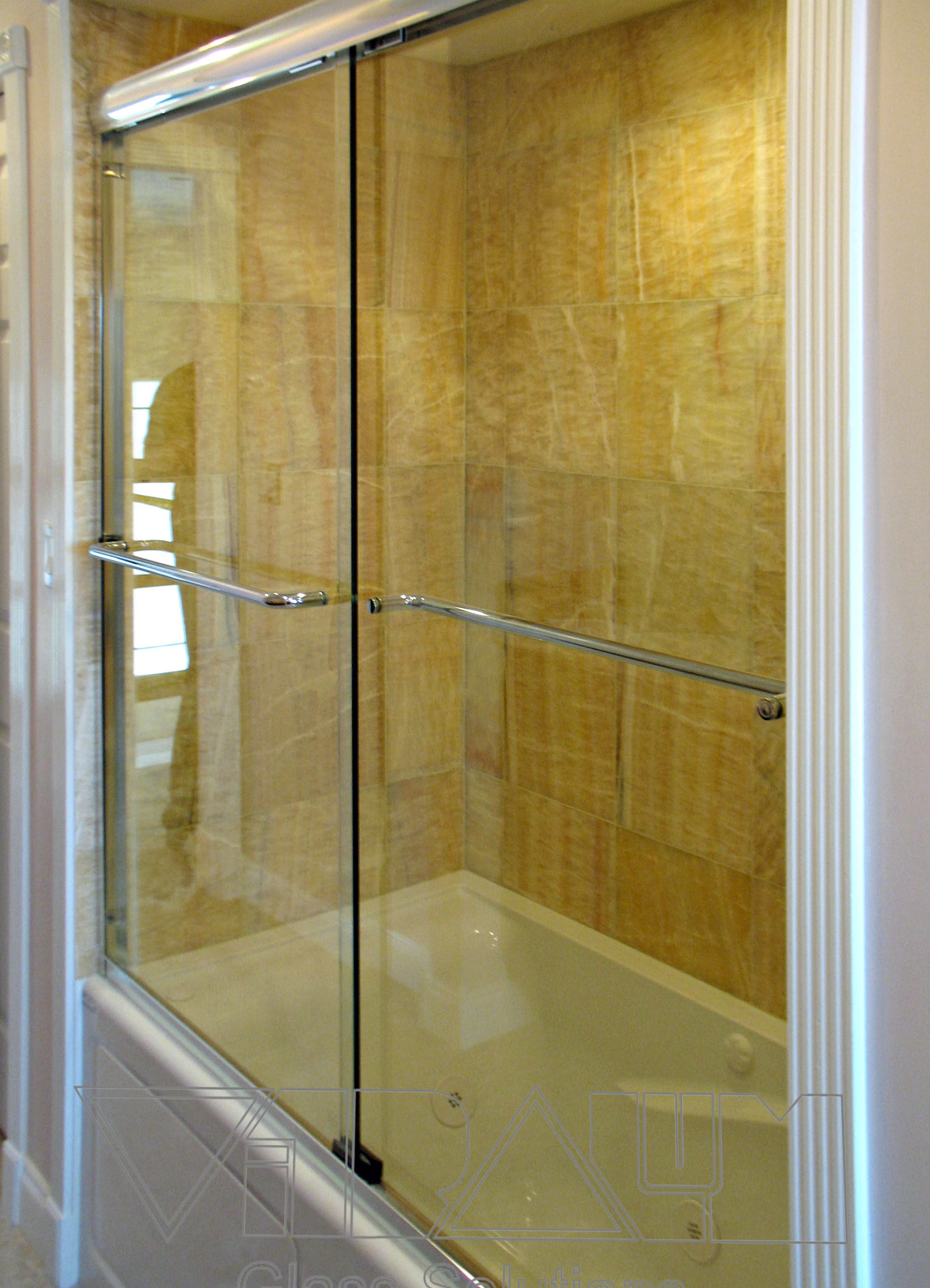 Frameless shower doors custom bathroom doors heavy glass for Frameless glass doors